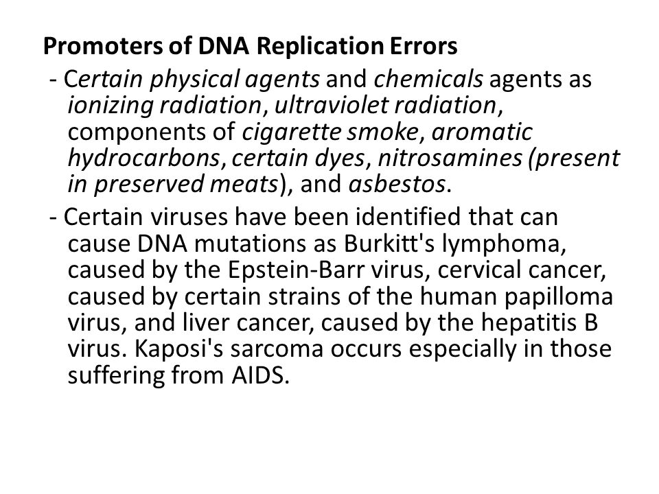 Promoters of DNA Replication Errors