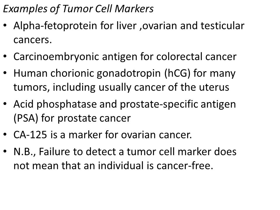 Examples of Tumor Cell Markers