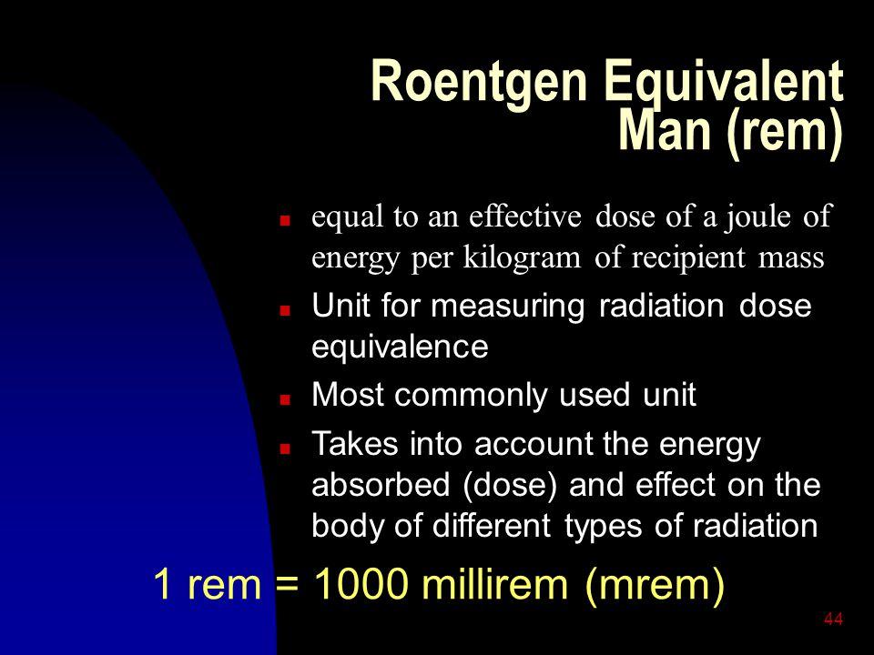 Roentgen Equivalent Man (rem)