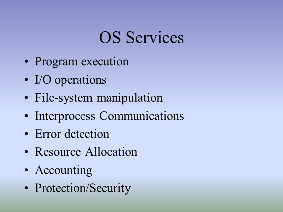 OS Services Program execution I/O operations File-system manipulation