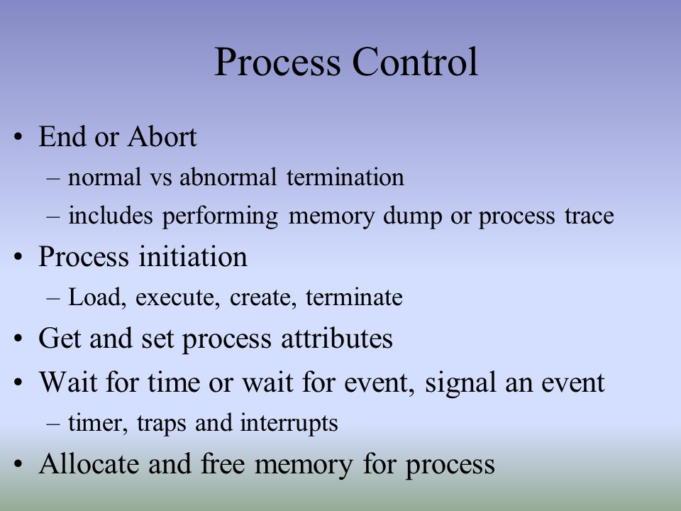 Process Control End or Abort Process initiation