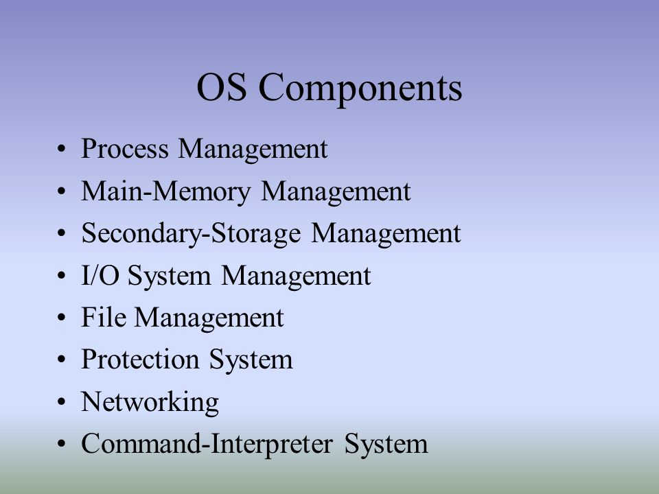 OS Components Process Management Main-Memory Management