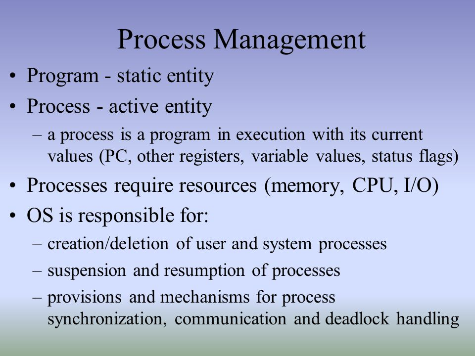 Process Management Program - static entity Process - active entity