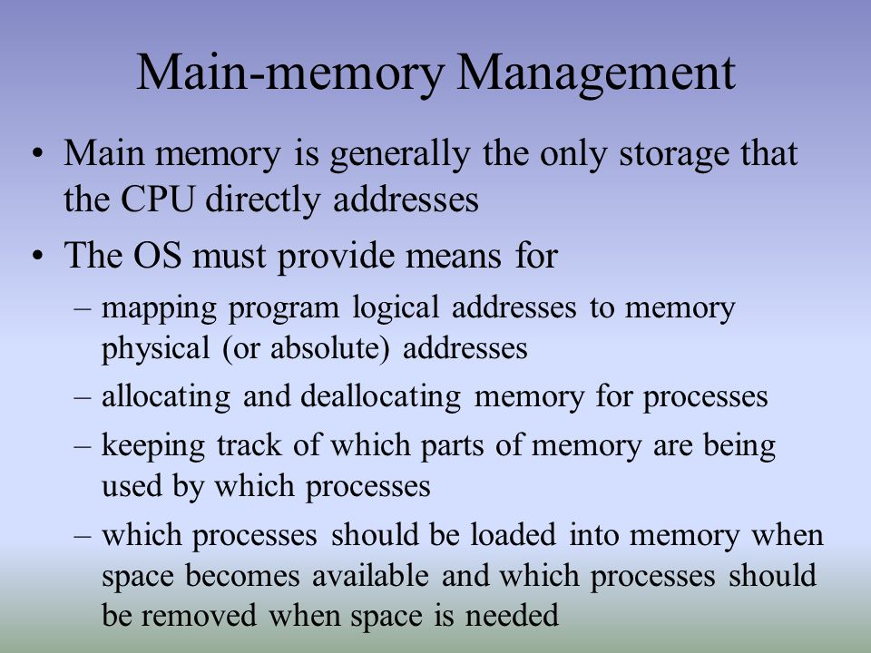 Main-memory Management