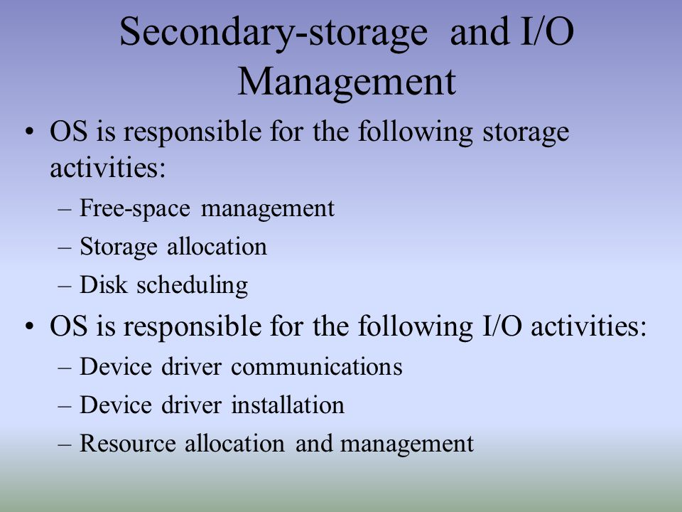 Secondary-storage and I/O Management