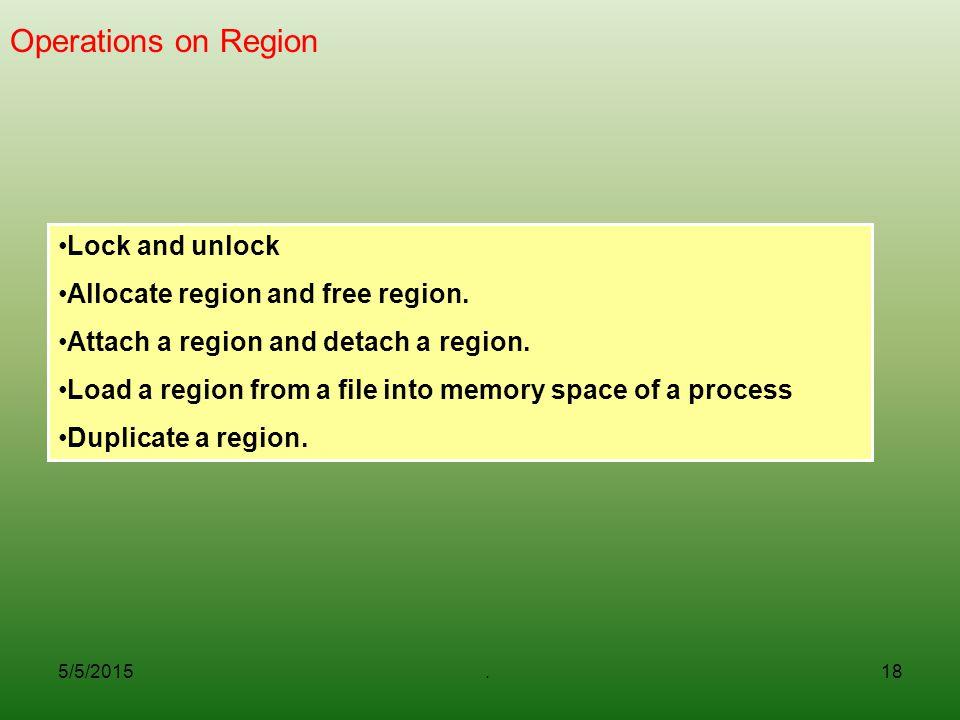 Operations on Region Lock and unlock Allocate region and free region.