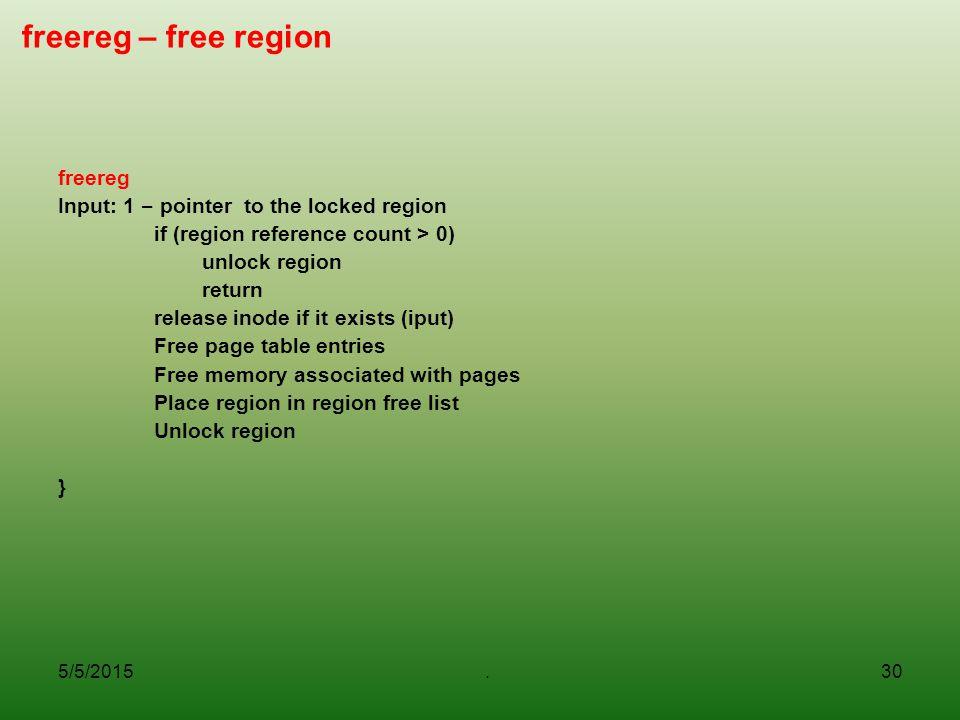 freereg – free region freereg Input: 1 – pointer to the locked region