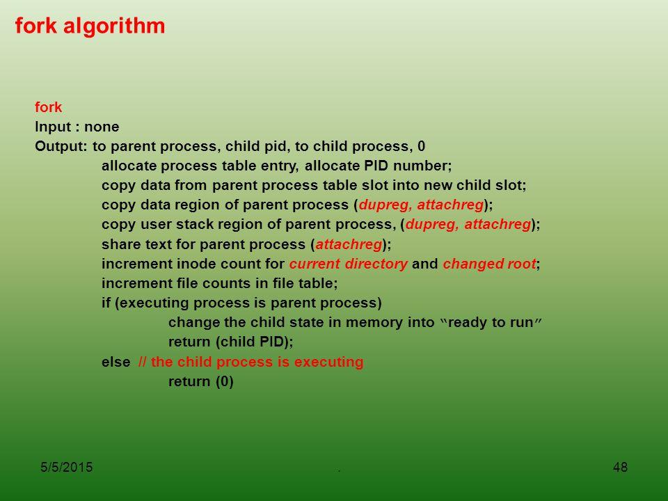 fork algorithm fork Input : none
