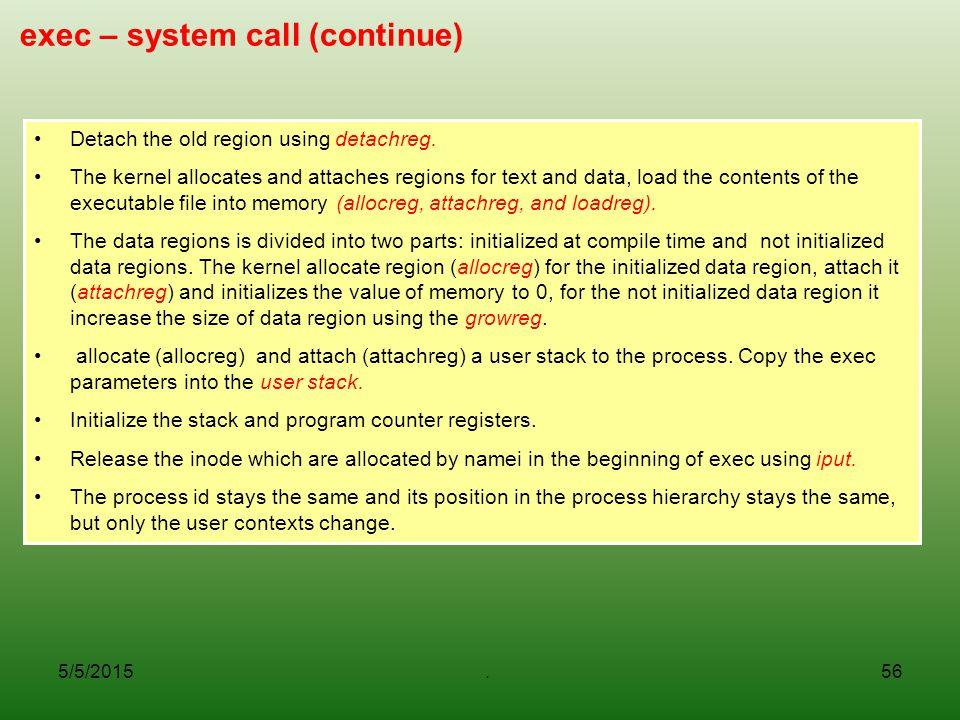 exec – system call (continue)