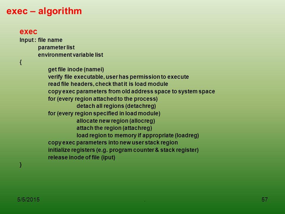 exec – algorithm exec Input : file name parameter list