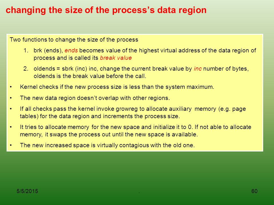 changing the size of the process's data region