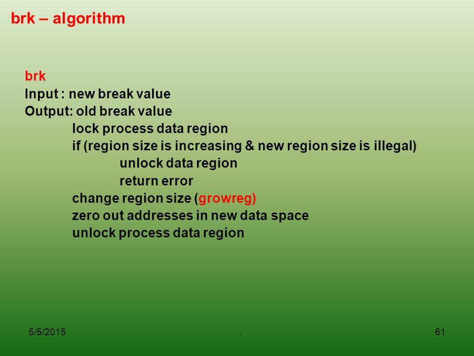 brk – algorithm brk Input : new break value Output: old break value