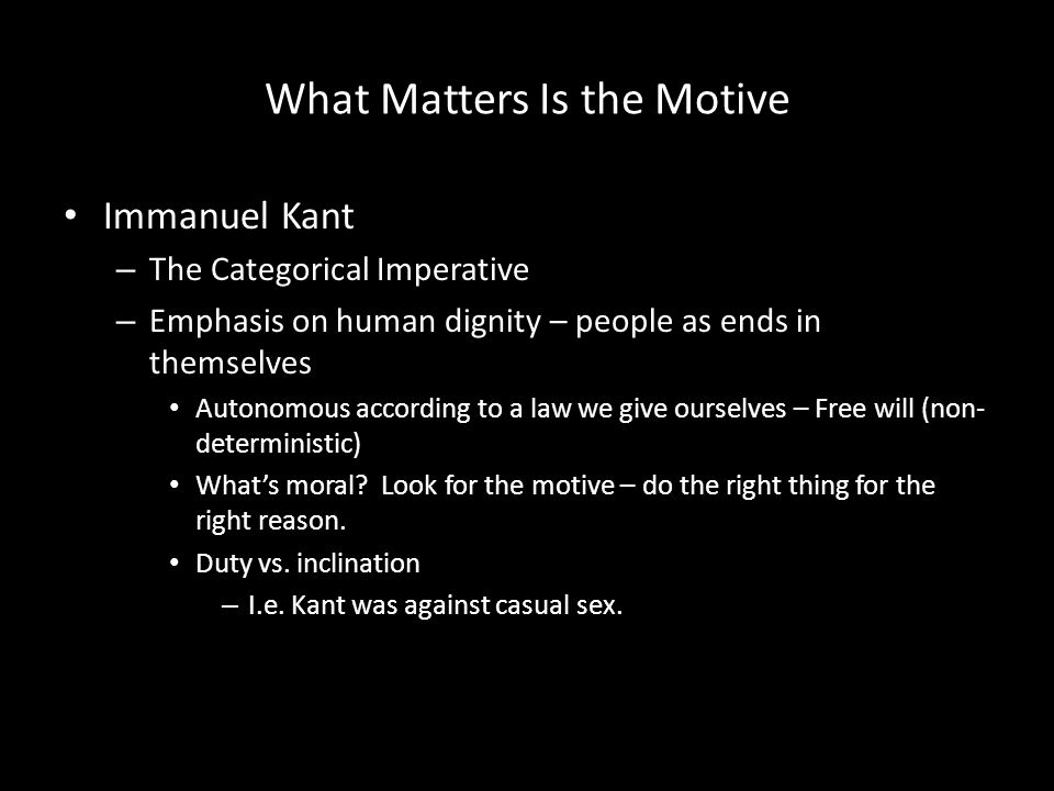 What Matters Is the Motive
