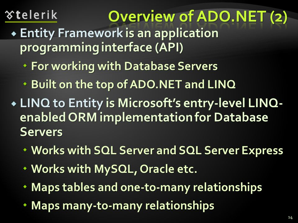 Overview of ADO.NET (2) Entity Framework is an application programming interface (API) For working with Database Servers.