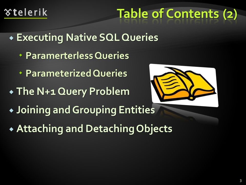 Table of Contents (2) Executing Native SQL Queries