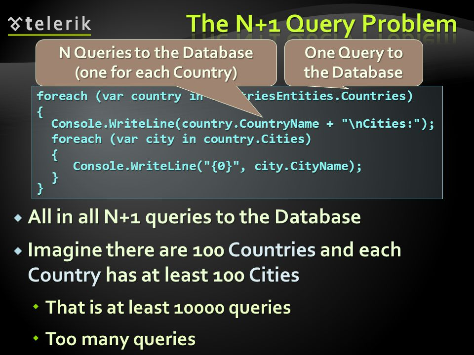 The N+1 Query Problem All in all N+1 queries to the Database