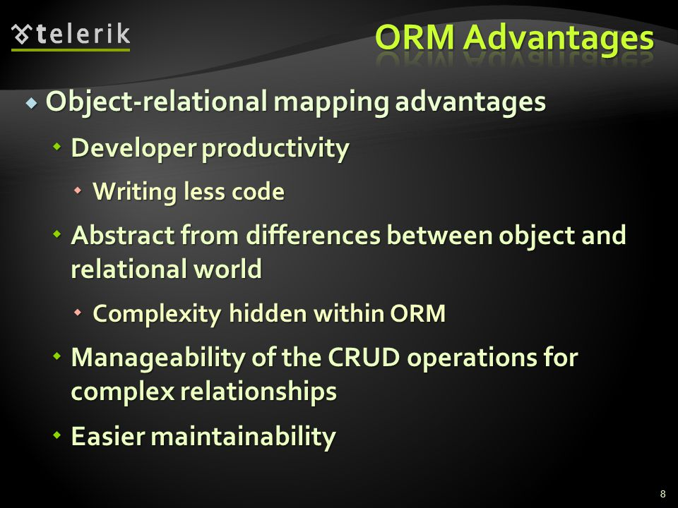 ORM Advantages Object-relational mapping advantages