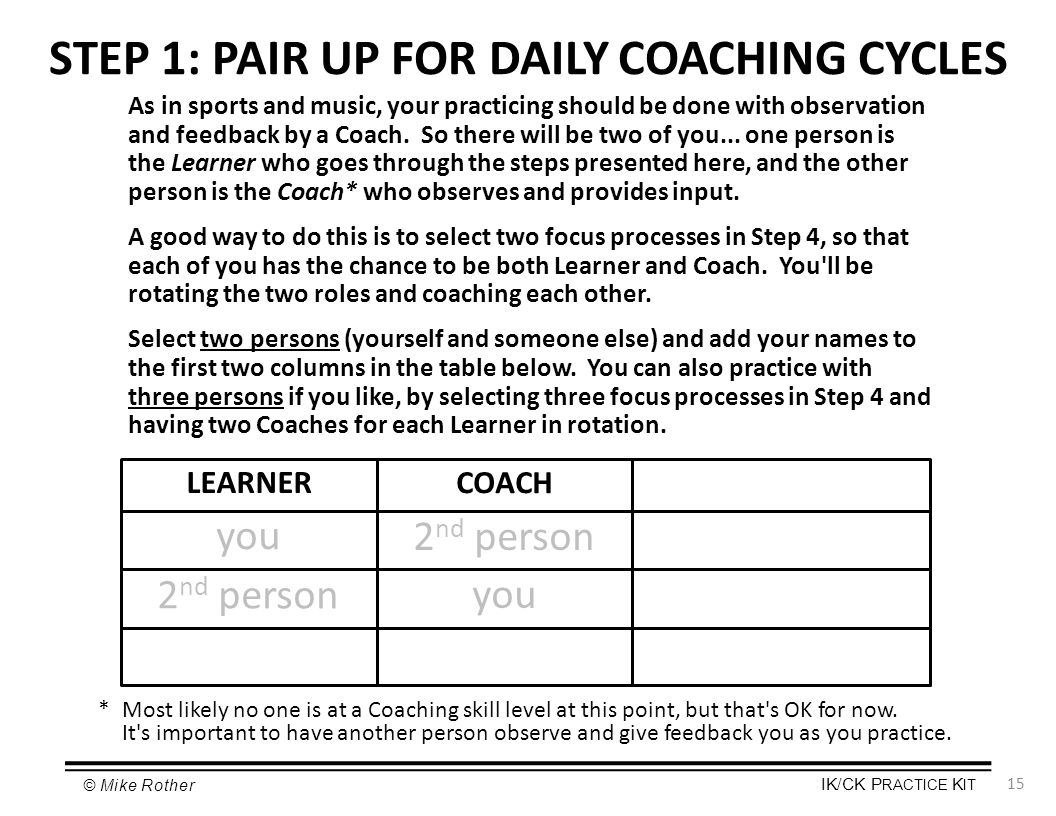 STEP 1: PAIR UP FOR DAILY COACHING CYCLES