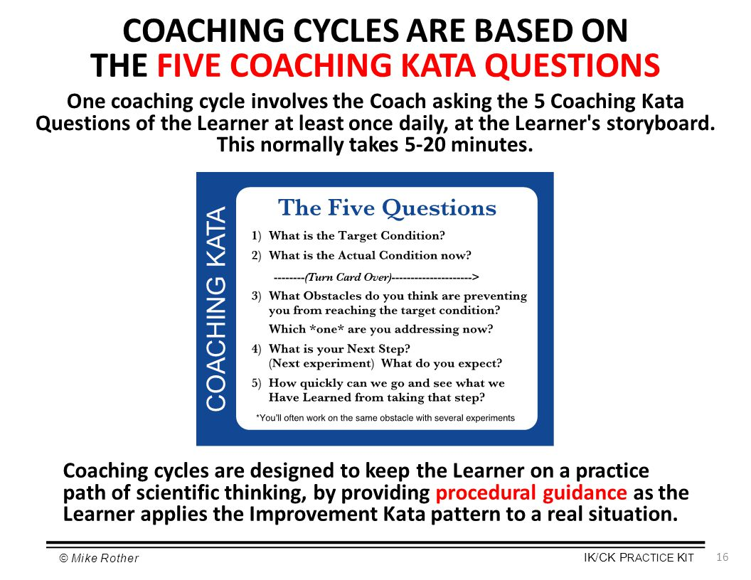 COACHING CYCLES ARE BASED ON THE FIVE COACHING KATA QUESTIONS