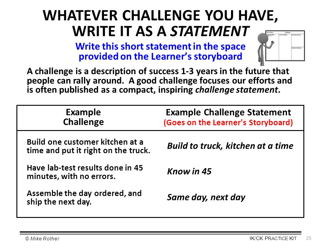WHATEVER CHALLENGE YOU HAVE, WRITE IT AS A STATEMENT