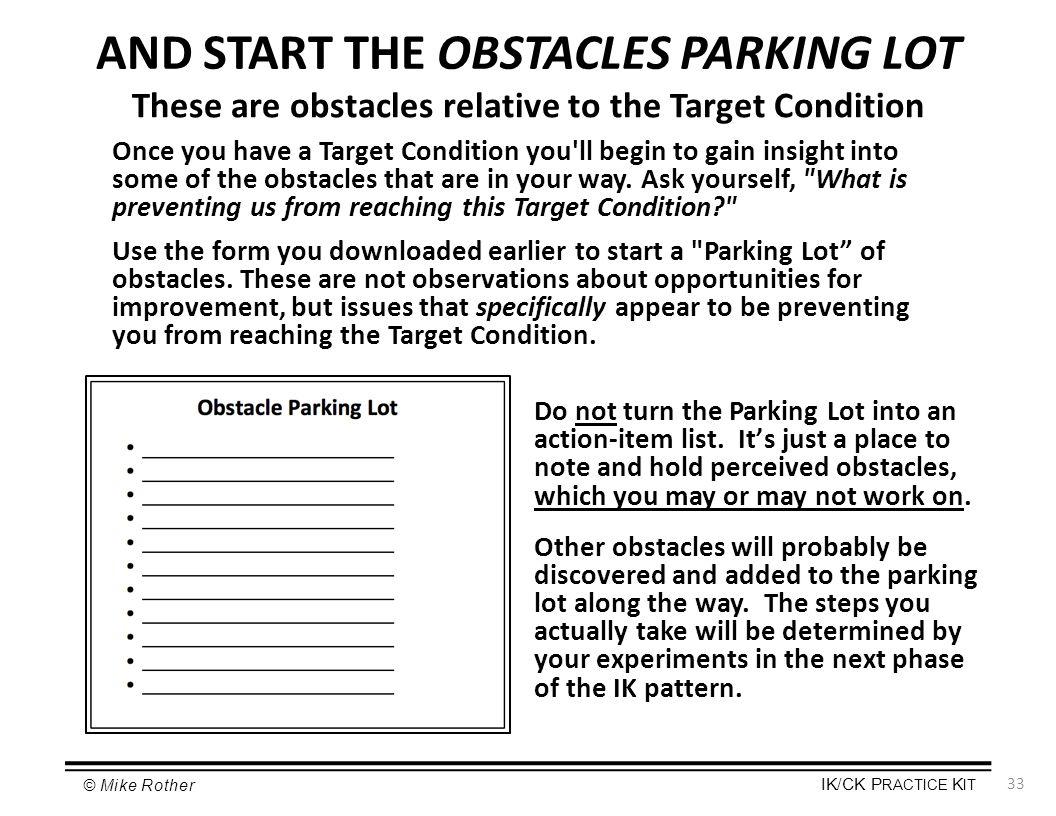 AND START THE OBSTACLES PARKING LOT