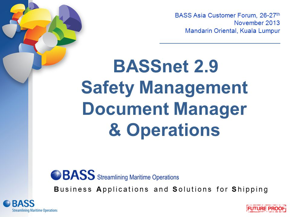 BASSnet 2.9 Safety Management Document Manager & Operations