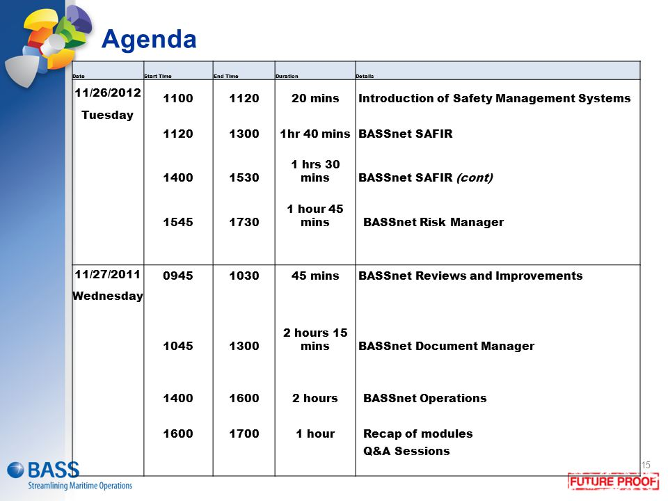 Agenda Date. Start Time. End Time. Duration. Details. 11/26/2012. 1100. 1120. 20 mins. Introduction of Safety Management Systems.