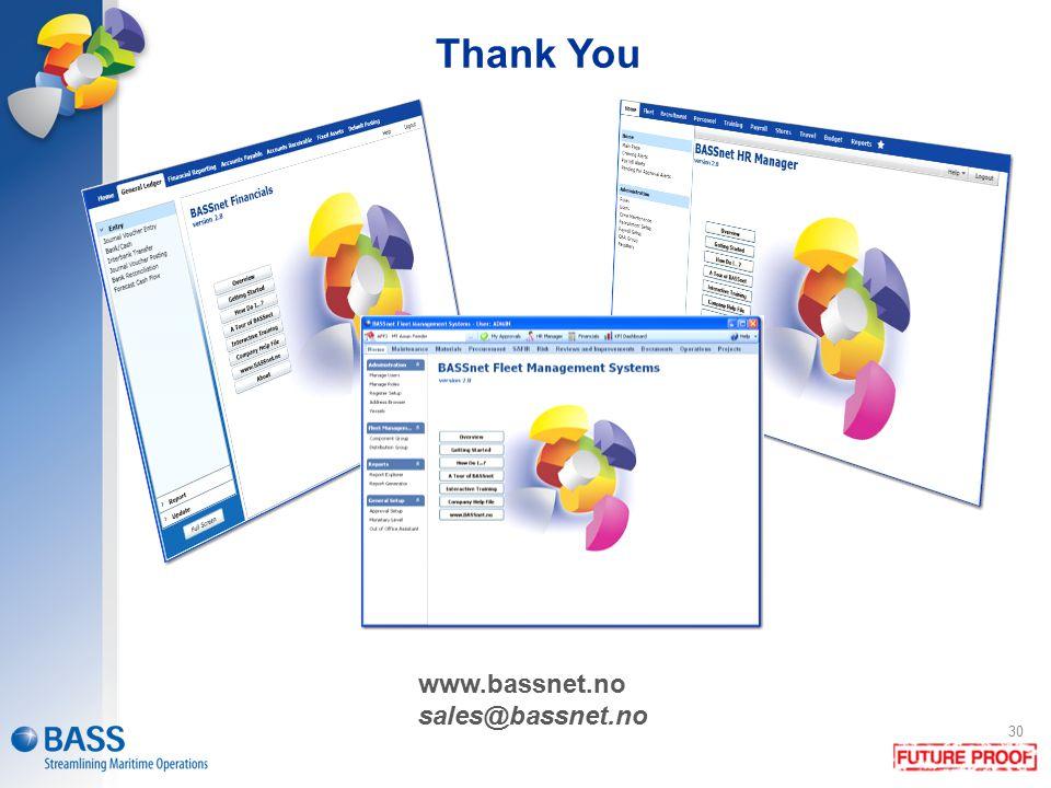 Thank You www.bassnet.no sales@bassnet.no