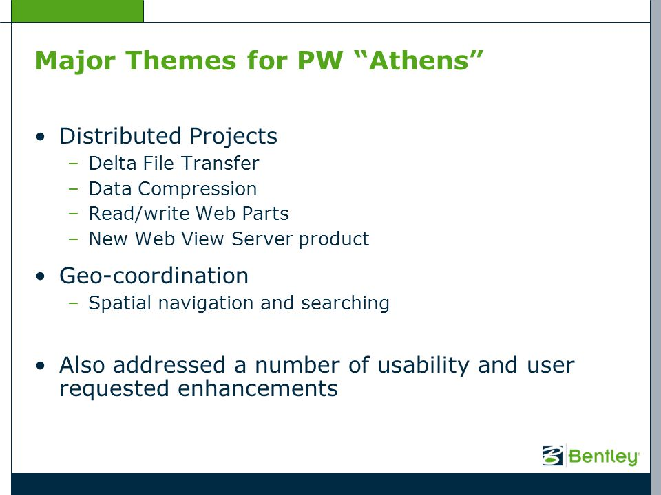 Major Themes for PW Athens