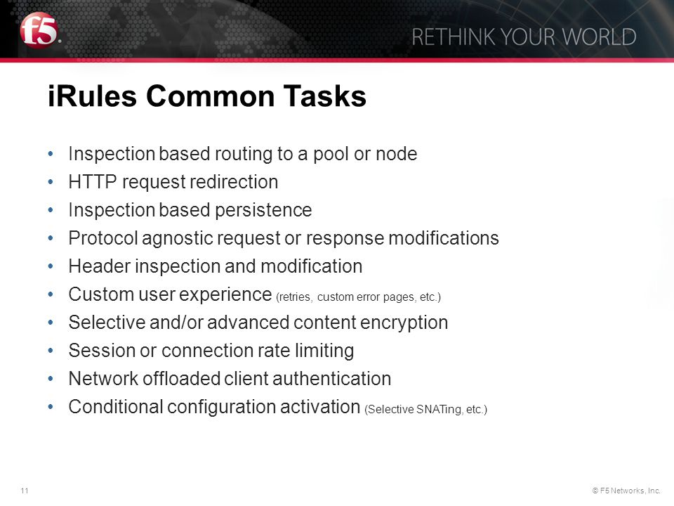 iRules Common Tasks Inspection based routing to a pool or node