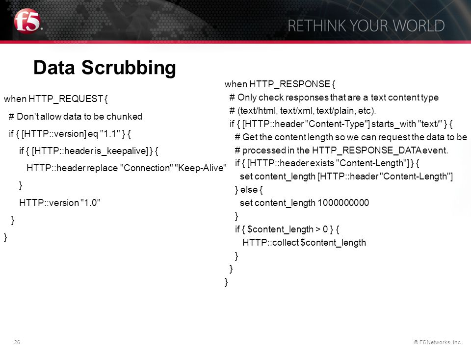 Data Scrubbing when HTTP_RESPONSE {
