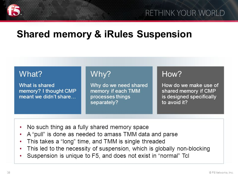 Shared memory & iRules Suspension