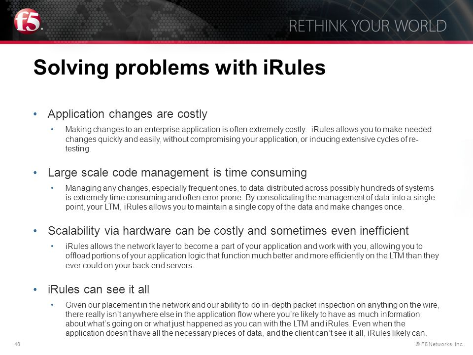 Solving problems with iRules