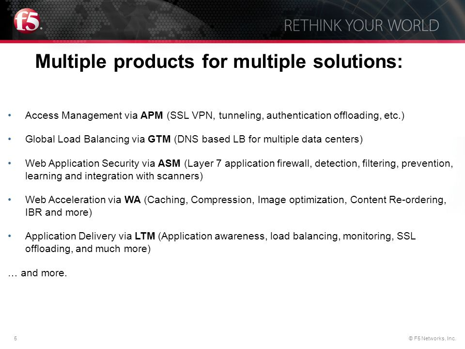 Multiple products for multiple solutions: