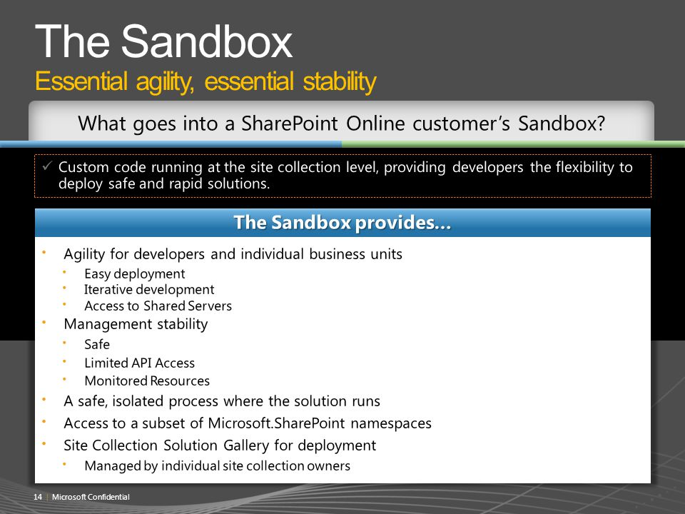 The Sandbox Essential agility, essential stability