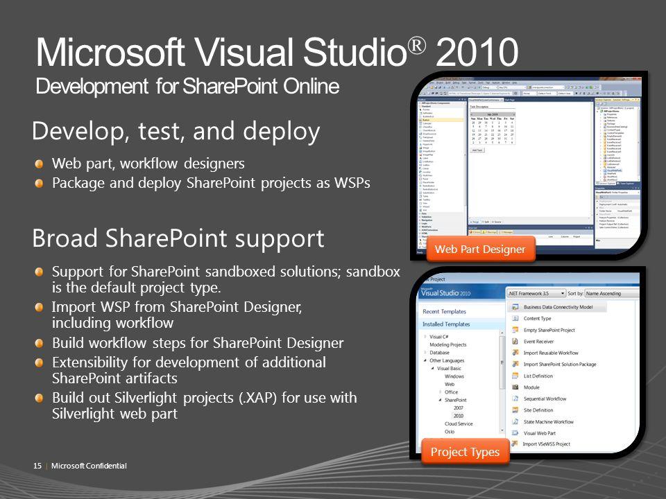 Microsoft Visual Studio® 2010 Development for SharePoint Online