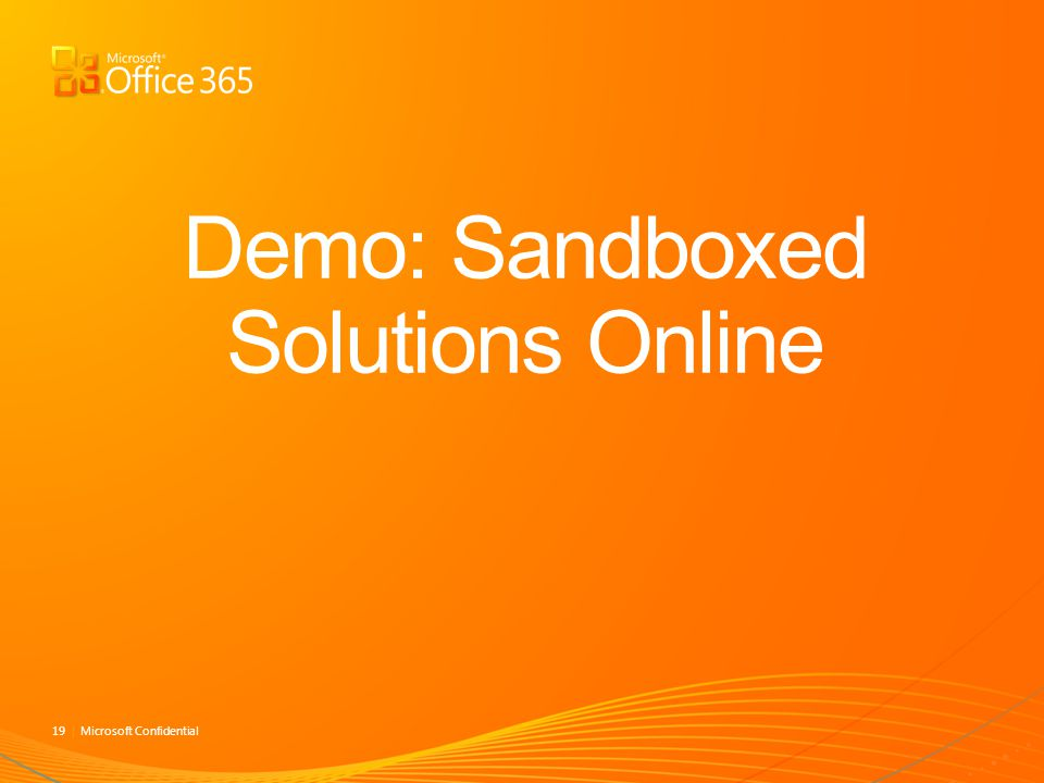 Demo: Sandboxed Solutions Online
