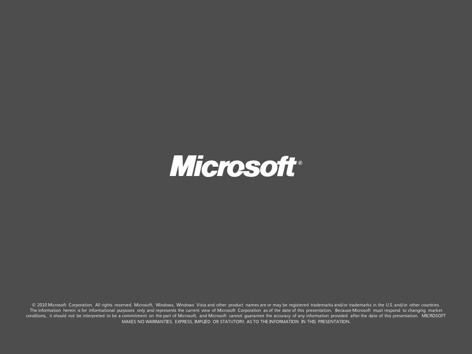 © 2010 Microsoft Corporation. All rights reserved