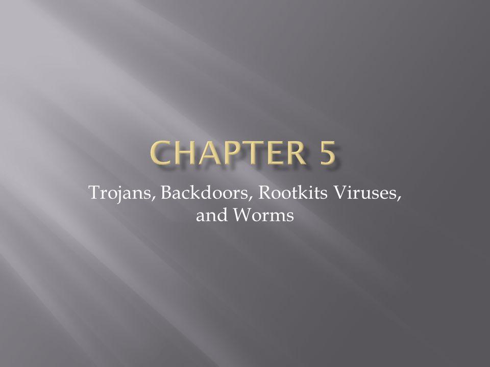 Trojans, Backdoors, Rootkits Viruses, and Worms