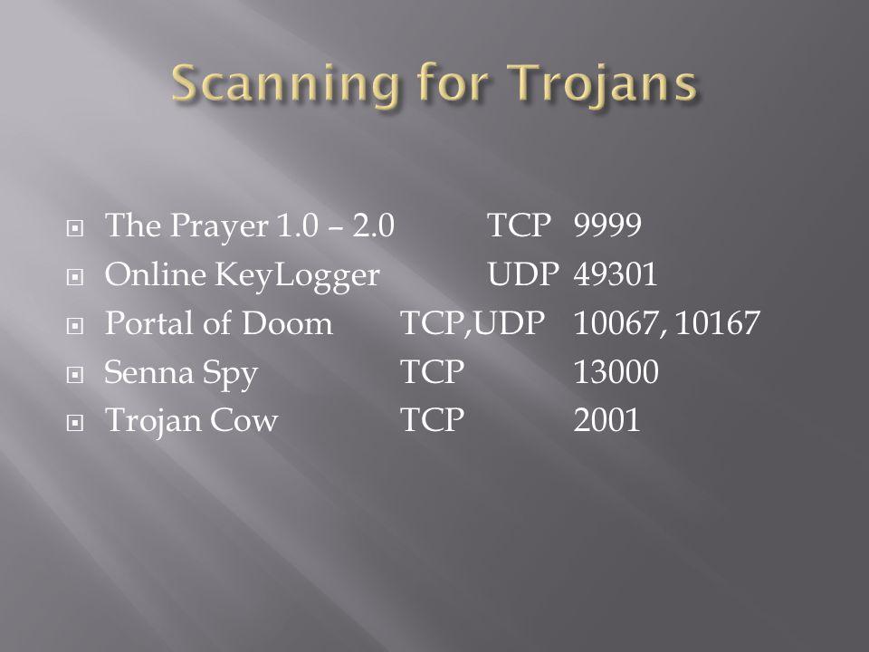Scanning for Trojans The Prayer 1.0 – 2.0 TCP 9999