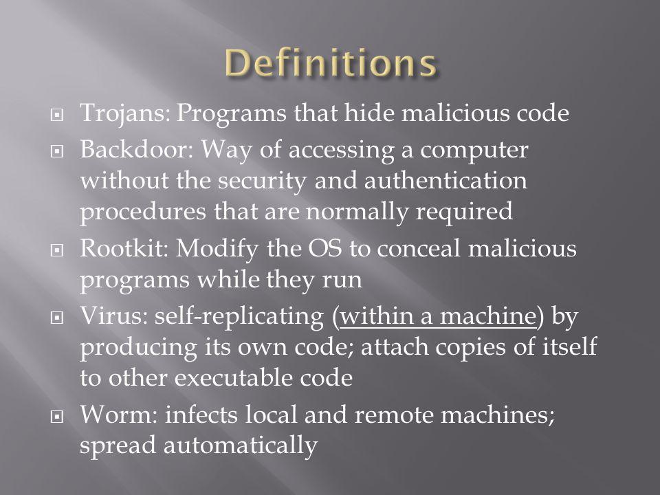 Definitions Trojans: Programs that hide malicious code