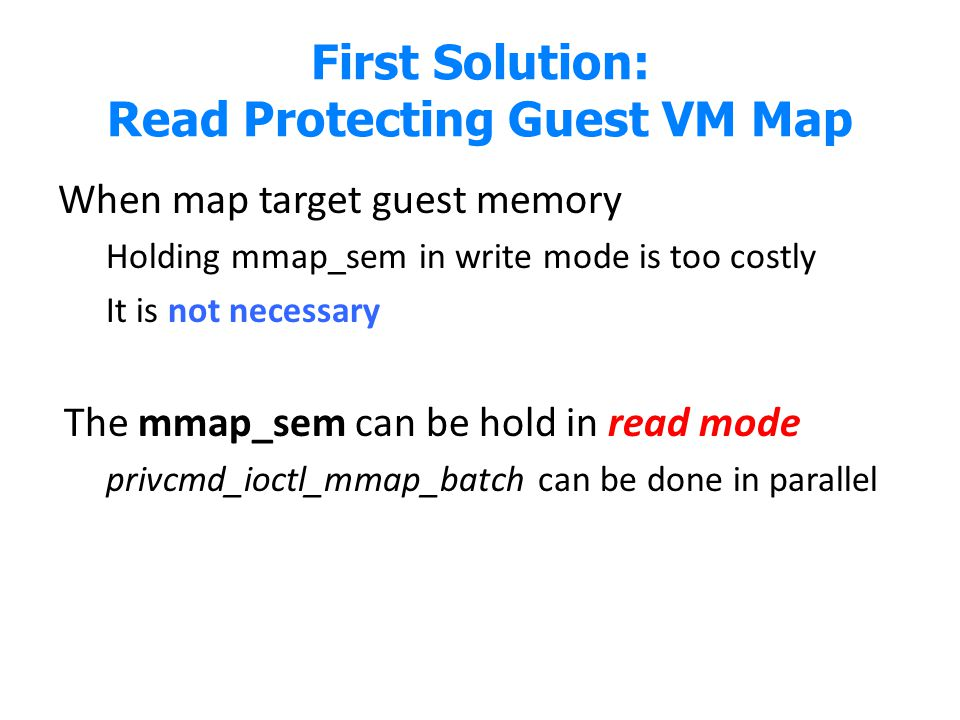 First Solution: Read Protecting Guest VM Map