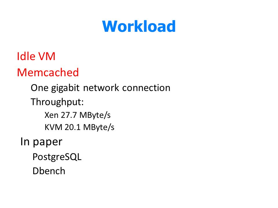 Workload Idle VM Memcached In paper One gigabit network connection