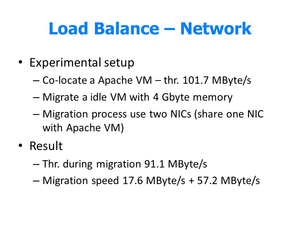 Load Balance – Network Experimental setup Result