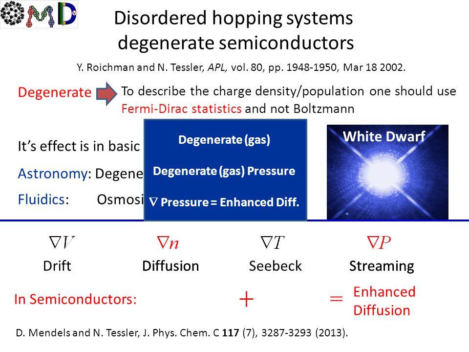 Degenerate (gas) Pressure  Pressure = Enhanced Diff.