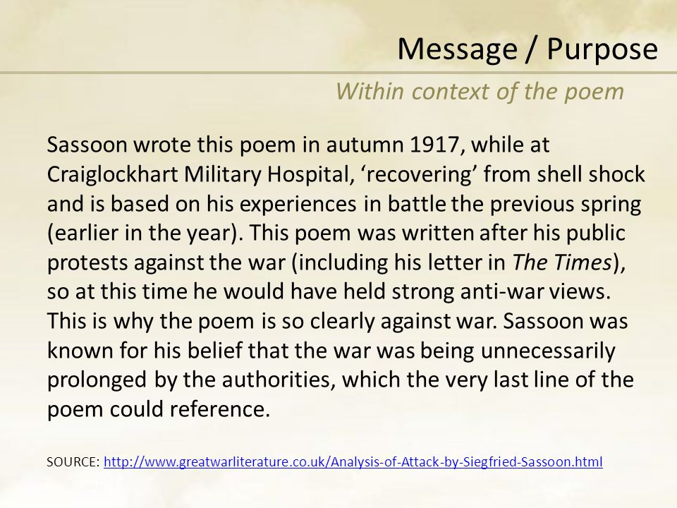 Message / Purpose Within context of the poem