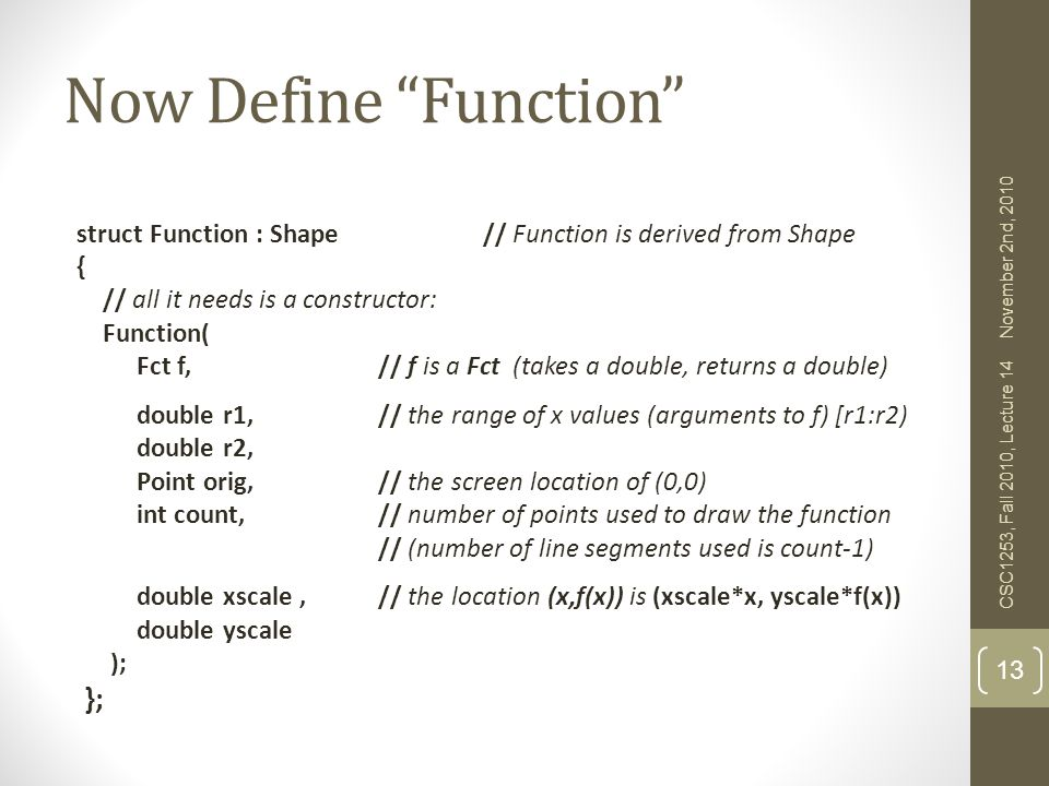 Now Define Function };
