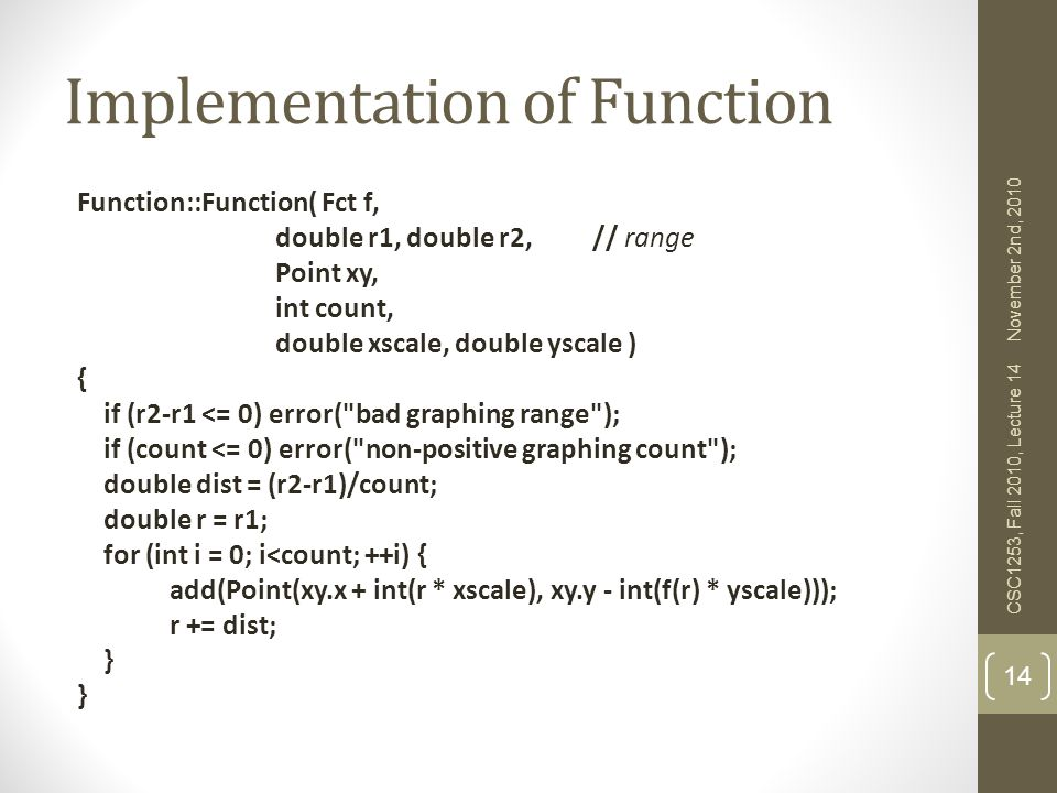 Implementation of Function
