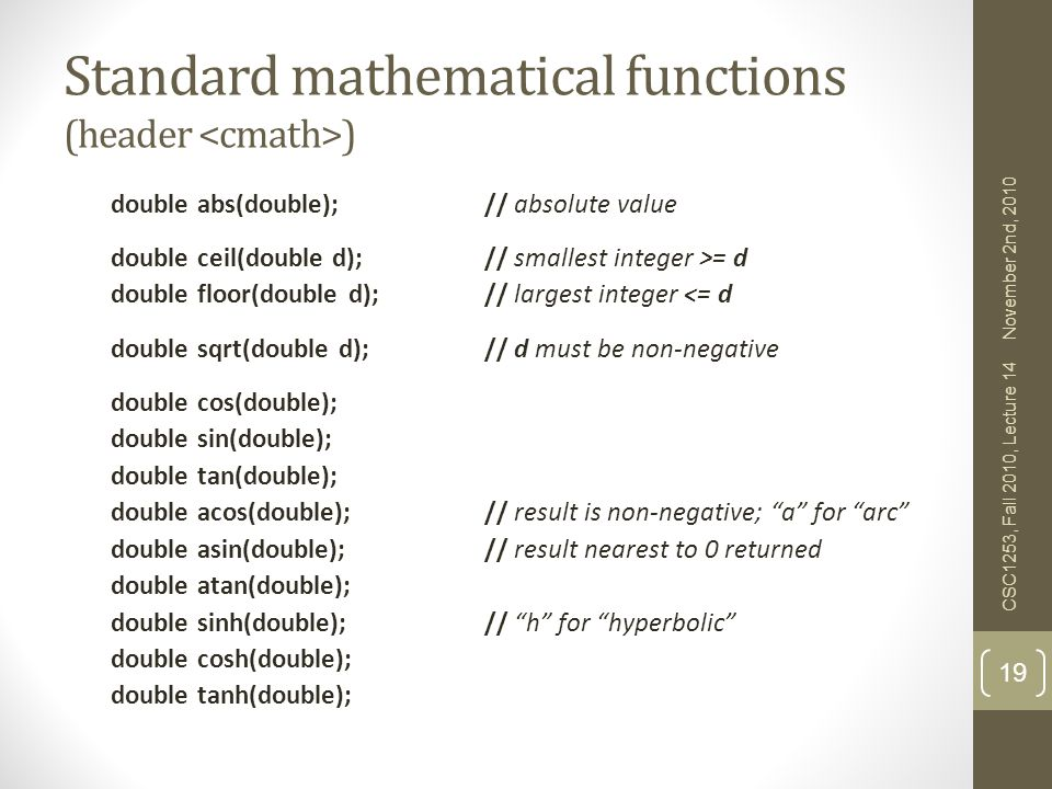 Standard mathematical functions (header <cmath>)