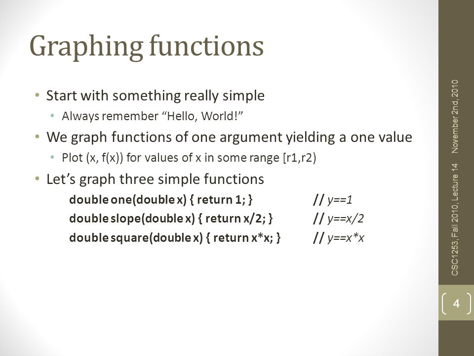 Graphing functions Start with something really simple